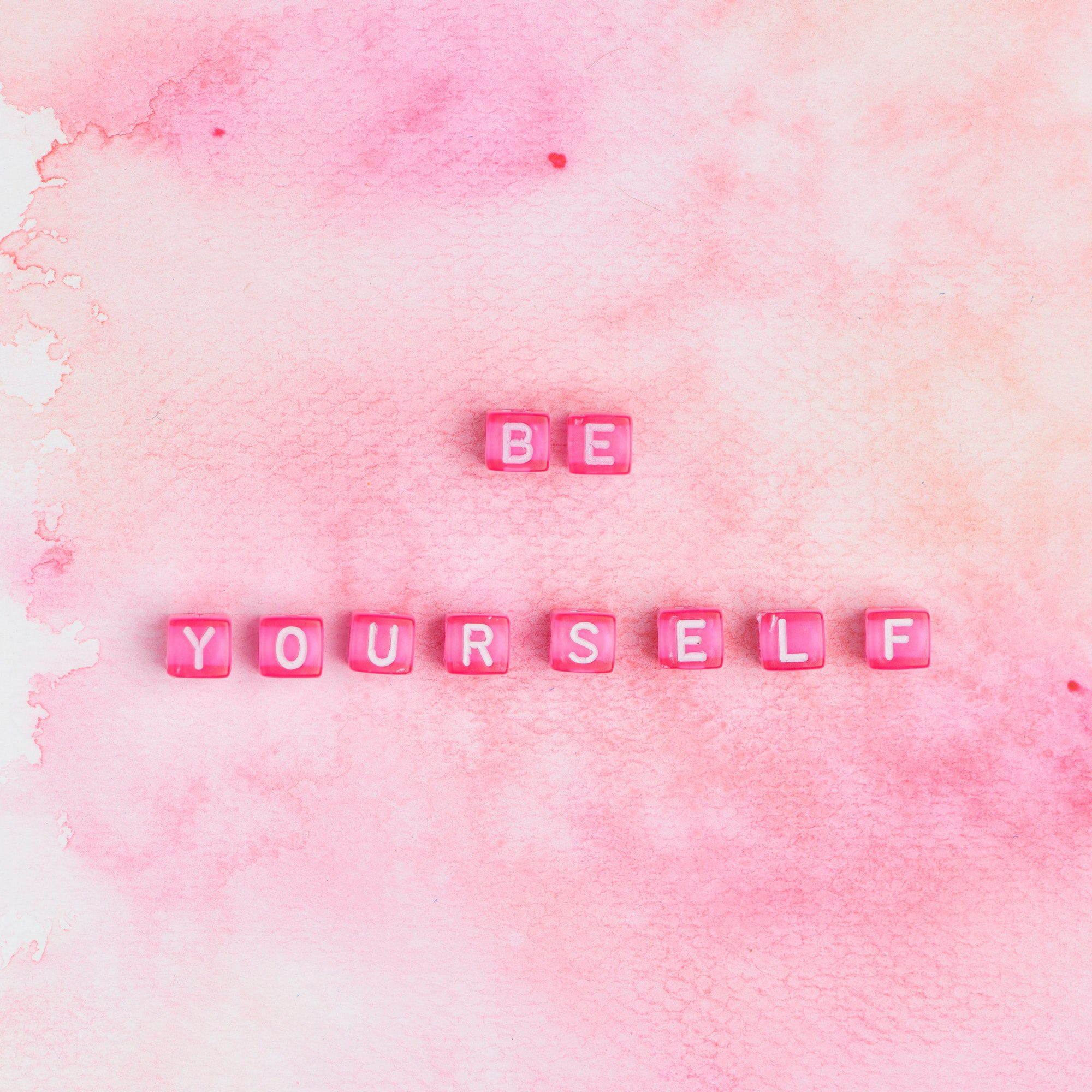 BE YOURSELF beads text typography on pink