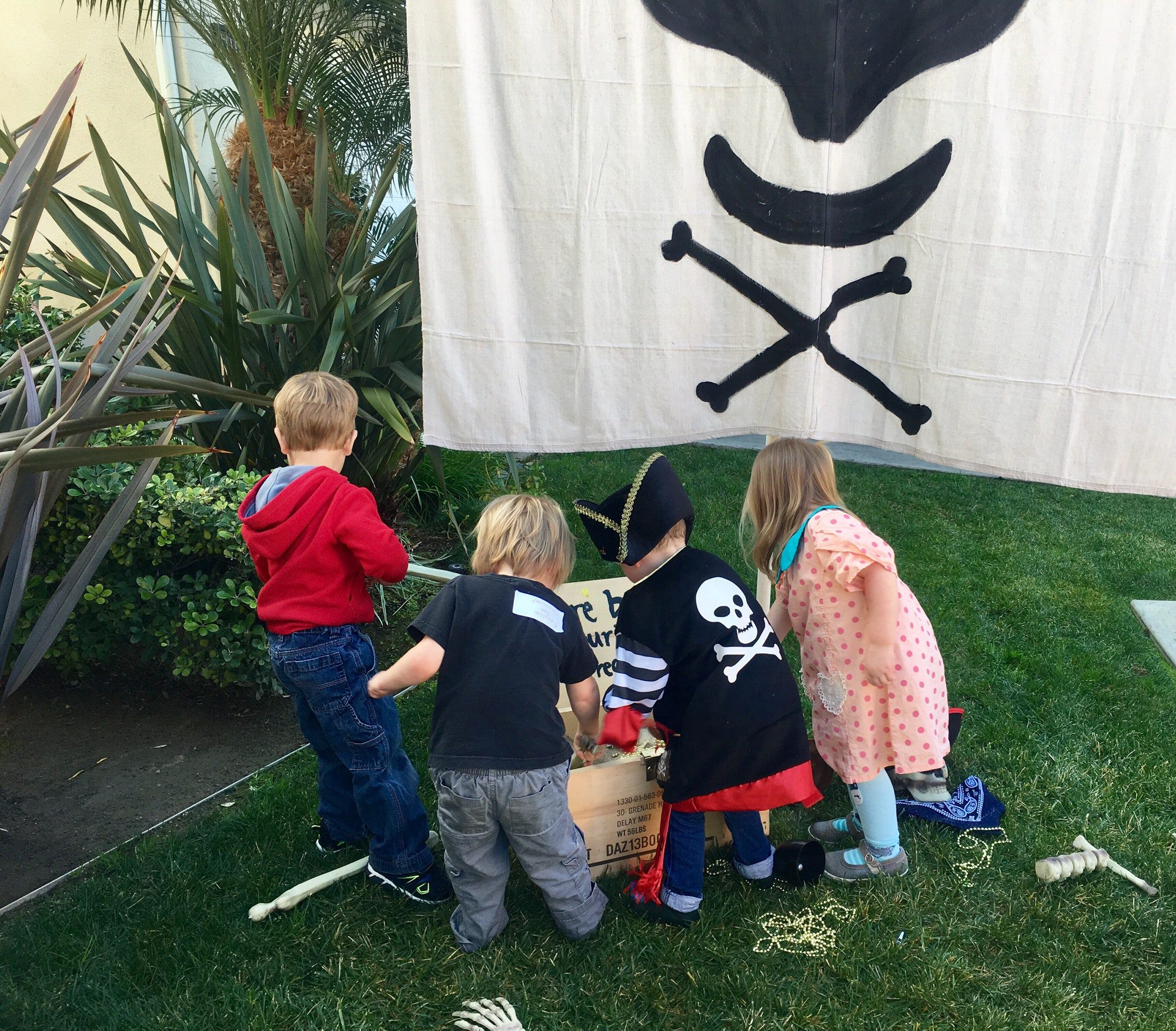Young Kids at pirate themed birthday party